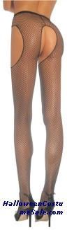 FISHNET NYLON SUSPENDER PANTY PLUS SIZE