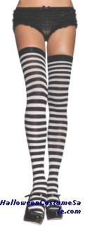 TIGHTS THIGH HI STRIPE B/W