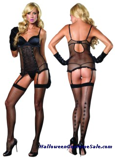 2 PC SATIN GARTER DRESS
