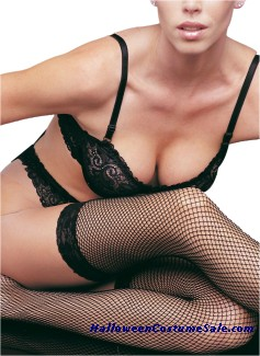 FISHNET STOCKING W/ LACE TOP
