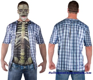 PHOTO REAL SHIRT SKELETON MALE ADULT COSTUME