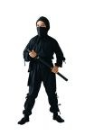 Ninja costume includes shirt with hood, pants, sash & scarf.