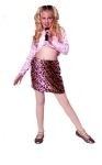 Rock star costume includes pink shirt & printed short skirt. Pink skirt.