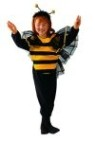 Li stinger costume includes net wings & striped bodice. Polyester fabric.