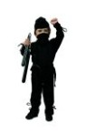 Li ninja costume includes jumpsuit, hood & sash.