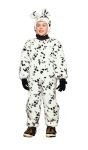Dalmatian Plush Child Costume includes dalmatian jumpsuit and hood. Sizes available : Toddler, Small, Medium & Large.