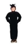 "Black cat plush child costume includes jumpsuit & hood. Also available in Toddler size: <A href=""/BLACK-CAT-PLUSH-COSTUME-Grp-123Z70072-Toddler.aspx"">Z70072-Toddler</A>."