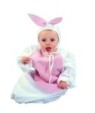 Bunny-bunting costume includes white and pink body bunny bunting with drawstrings. Cute pink ears on white hat.