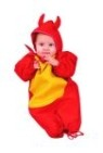 Lis devil costume includes bunting with drawstring & devil hood.