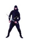 Ninja costume includes jumpsuit & hooded mask.