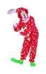 Polka dots (red with white dots) clown costume includes jumpsuit and hat. Wig, gloves and shoes are not included.