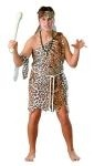 Plush caveman costume includes plush leopard skin tunic, matching headband and white waist tie cord. One size fits most adults.
