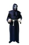Super Deluxe Horror costume includes robe, hooded collar & waist tie cord.