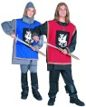 Medieval knight costume includes 4 pieces : Tunic, shirt, pants and hood. One size fits most adults. Sword not included. Boot covers can be purchased separately.