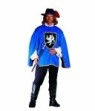 Musketeer costume - Top is a one-piece tunic with white ruffled collar, long shoulder epaulets, large chest insigna, gold trim and white sleeves. Black pants. Fits up to mens chest size 40.
