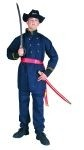 Union officer costume includes jacket, pants & sash.