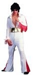 Rock star costume includes white elvis style jumpsuit with red fringe trim, wide gold belt. Satin finish material. Available in adult sizes medium and large.