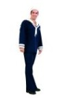 Ship Ahoy Sailor costume includes navy shirt with white collar, tie, bell bottom pants & sailors hat.