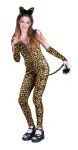 Leopard Girl costume includes jumpsuit and ears.
