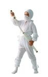 This Ninja costume includes white shirt with hood, pants, sash and scarf. Weapons not included.