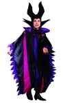 Wicked queen costume includes black soft flannel gown with purple and dark pink satin finish trim. Black horned hat.