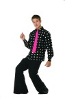 Disco Heat Adult Costume - Includes black and white dotted shirt, bell bottom pants, and fuschia tie.