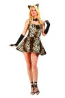 Party Leopard Adult Costume includes Dress with Tail and attached Petticoat, Bowtie, Gauntlets and Ears.