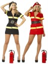 "Fire Fighter Costume includes poly poplin double zip front dress with short sleeves, yellow strips and black vinyl belt and vinyl helmet. Costume also available in Plus Size (<a href=""Fire-Fighter-Costume---Plus-Size-Grp-123z81590-91-plus.aspx"">Z81590-91-plus</a>)."