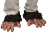 Chimp feet includes plush shoe covers with latex upper foot and toe detailing attached. Elastic band on bottom holds shoe cover in place.