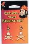 Pirate Earring Set - Includes a pair of gold colored metal crossbones earrings that simply snap into place.