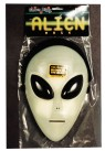Glo Alien Mask - Rigid, glow-in-the-dark plastic face mask with comfortable  elastic strap. Attached hood conceals the back of the head. Large dark plastic eyes provide excellent vision.