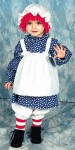Raggedy Ann Child Costume - Includes dress/apron one-piece costume, and striped stockings. Hat with attached wig also included.