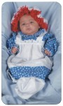 Raggedy Ann Infant Costume - Includes dress and apron bunting. Hat with attached wig included.