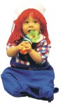 Raggedy Andy Infant Costume - Includes pant and shirt bunting. Hat with attached wig included.