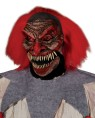 Dead Humor Mask - The most demented demonistic clown mask you will ever see. Full over-the-head latex mask with lots of pointed teeth, faded clown makeup, and attached fluffy red hair.