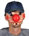 Clowning Around Mask - A clown character featuring an oversized nose in a latex half mask design with attached baseball cap for adjustability. Great for talking and drinking while in character.