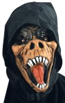 Gator Mask - Latex rubber face mask with elastic strap. Attached fabric  hood conceals the back of the head.