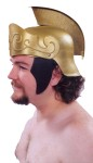 Roman Helmet With Gold Crest - Durable plastic helmet with  removable molded plastic  brush. Moveable face and ear shields. Gold metallic  color.
