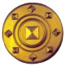 Roman Shield - Heavy duty gold-colored plastic shield with arm straps along the back for easy grip. Very durable.