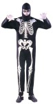 Skeleton Adult Costume - A complete stretch jumpsuit with bones printed on the fabric. Looks great under a black light. Includes hood. One size only.