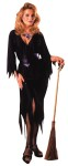 Classic sexy wicked witch character Halloween costume in black.