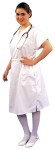 Nurse Scrub Dress - White, slip-over v-neck style scrub dress of 60% cotton/40% polyester. Comfortable side tie tunnel belt and two large pockets. Machine washable.  SIZES  Medium: 14-16  Large: 18-20.