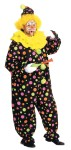 Neon Dotted Clown Costume - Comfortable jumpsuit with bright colorful polka dot design and matching hat with pom-poms.  Also includes a bright yellow collar.  One size fits most adults.