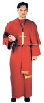 Cardinal Adult Costume - White Red poly ponté gown, hat, gold trimmed caplet & sash. Fits most men with chest size 40 to 44.  (Cross and Bible not included).
