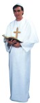 Pope Adult Costume - White poly ponté gown, caplet and hat. Fits most men with chest size 40 to 44.  (Cross and Bible not included).