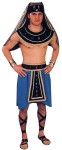 Pharoah Adult Costume - Comes with a ponte skirt, velvet collar & belt with jewels & gold trim, lame headpiece and wrist bands. Fits most men with chest size 40 to 44.