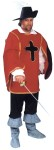 Cavalier Man Costume - White cotton shirt w/ front lacing, black ponté pants, vinyl boot spats, knit ponté tunic w/ cross & gold trim and adjustable side closure. Fits up to size 48.