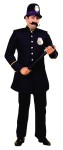 Keystone Cop Adult Costume - Blue pants and long jacket with gold trim and buttons. (Hat, gloves, billy club, and police badge not included).  The material is poly-cotton blend, jacket is not lined.  Pants are elastic.