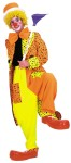 Dapper Dan Neon Clown Costume - Orange/Yellow Two Tone Jacket with Black Polka Dots. Made of 100% Poly-Popplin. Two- Tone Solid Neon Peg Leg Pants with Two Over Sized Dotted Patch Pockets. Hat and Bow Tie NOT Included