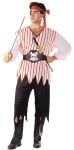 Pirate Man Adult Costume - Includes Red and White Tunic with White Sleeves, Black Pants, Red Headband and Black Belt with Skull Decal.